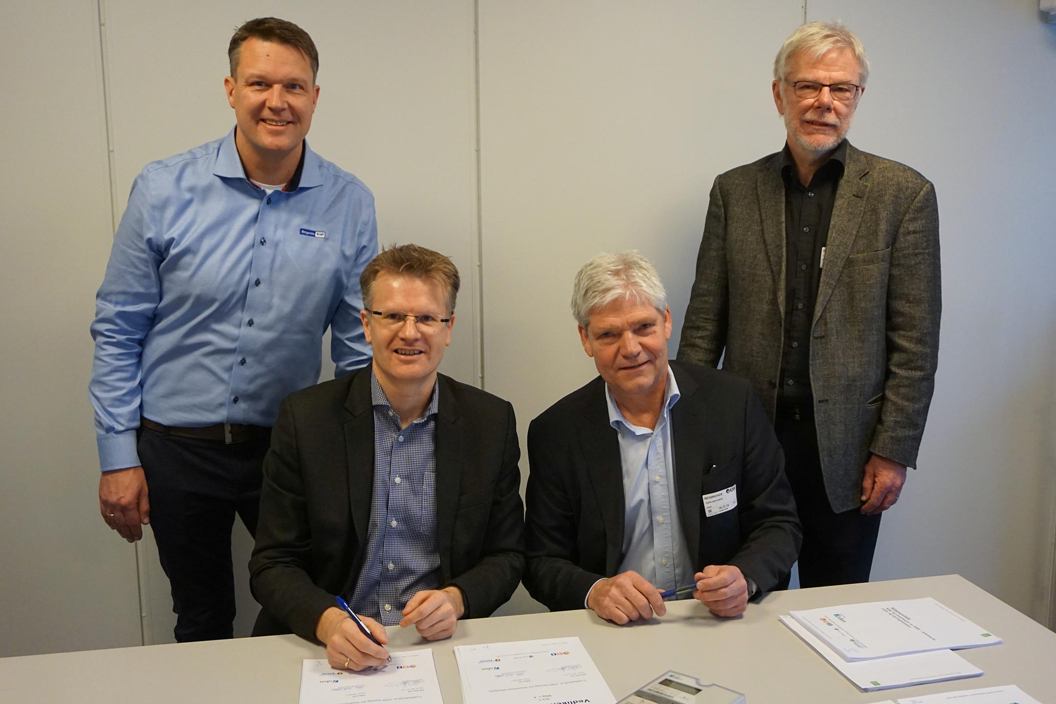 from left: Steffen Fagerås, Service director of Ringeriks-Kraft Service, Tore Morten Wetterhus, Managing Director of EB Nett, Thor-Erik Næss, Managing director of Aidon in Norway and Lars Øivind Andresen, Managing director of Øvre Eiker Nett
