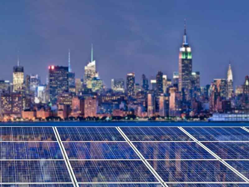 New York Skyline reflecting in solar panels