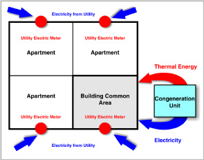 Figure 1 - Direct metered residential building can only supply electricity to common area as generated on-site